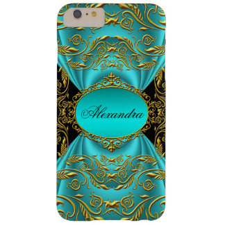 Elegant Teal Blue Green Jade Black Gold iPhone 6 Plus Case
