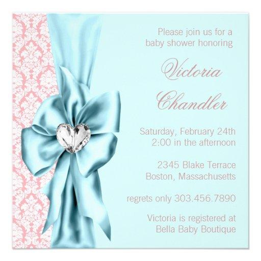 Elegant Teal Blue Pink Damask Baby Girl Shower Announcements