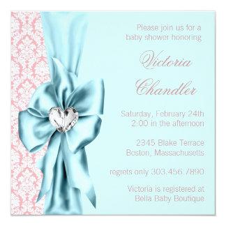 """Elegant Teal Blue Pink Damask Baby Girl Shower 5.25"""" Square Invitation Card"""