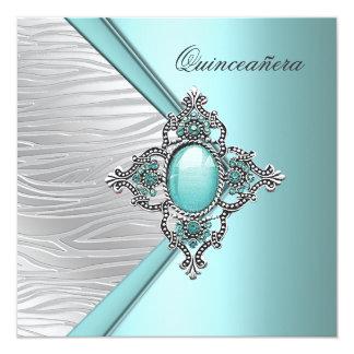 Elegant Teal Blue Quinceanera Personalized Invitations