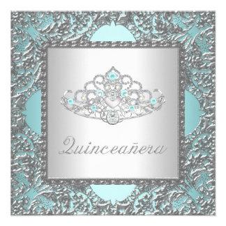 Elegant Teal Blue Quinceanera Invites