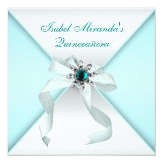 Elegant Teal Blue Quinceanera Party 13 Cm X 13 Cm Square Invitation Card