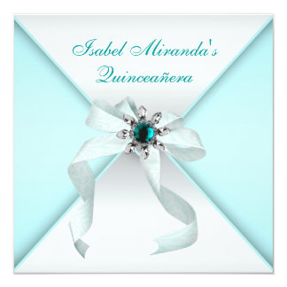 Elegant Teal Blue Quinceanera Party Personalized Invite