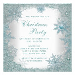 Elegant Teal Blue Snowflake Christmas Party Invitation