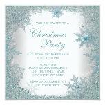Elegant Teal Blue Snowflake Christmas Party 13 Cm X 13 Cm Square Invitation Card