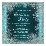 Elegant Teal Blue Snowflake Christmas Party Invitations