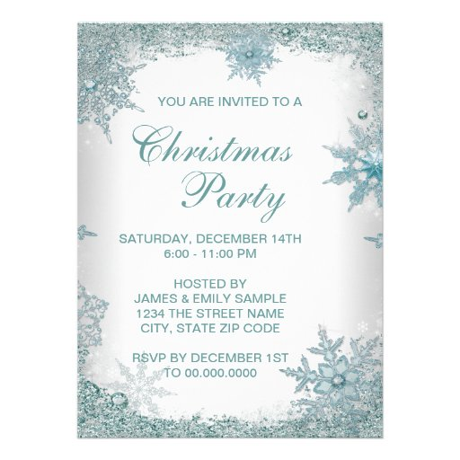 Elegant Teal Blue Snowflake Christmas Party Announcements