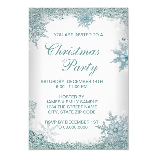 Elegant Teal Blue Snowflake Christmas Party RSVP Personalized Invites ...