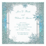 Elegant Teal Blue Snowflake Wedding Invitations