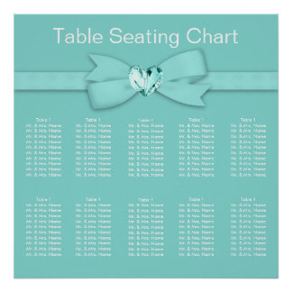 Elegant Teal Blue Wedding Seating Chart Posters