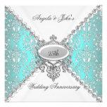 Elegant Teal Blue White 25th Wedding Anniversary