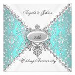 Elegant Teal Blue White 25th Wedding Anniversary Personalized Announcement