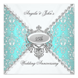 Elegant Teal Blue White 25th Wedding Anniversary Personalized Invitation