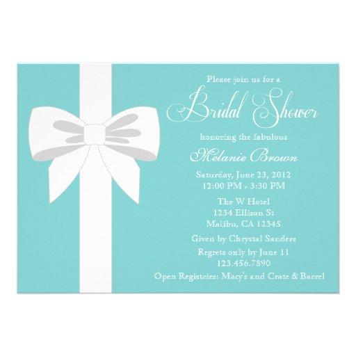 Elegant Teal Blue White Ribbon Bridal Shower Personalized Invitations
