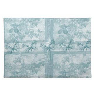 Elegant Teal Butterflies Floral Place Mat