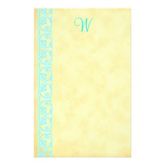 Elegant Teal Custom Monogram Stationery