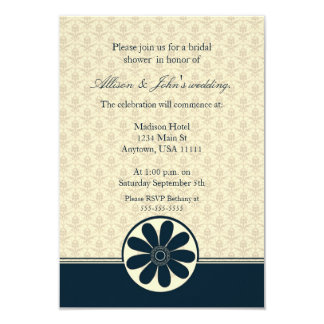 Elegant Teal Damask Bridal Shower Invitation