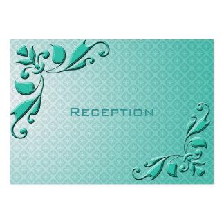 Elegant teal decorative floral wedding reception business cards