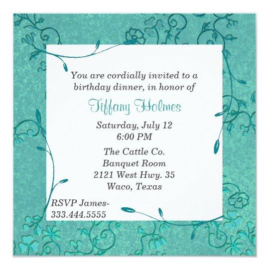 Elegant Teal Fleur birthday invitation