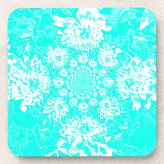 Elegant Teal  Floral Dahlia Flower Pattern Coaster