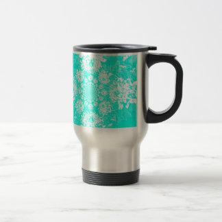 Elegant Teal  Floral Dahlia Flower Pattern Travel Mug