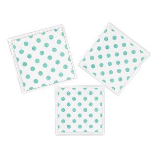 Elegant Teal Glitter Polka Dots Pattern Acrylic Tray