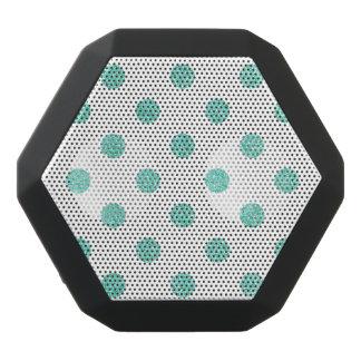 Elegant Teal Glitter Polka Dots Pattern Black Bluetooth Speaker