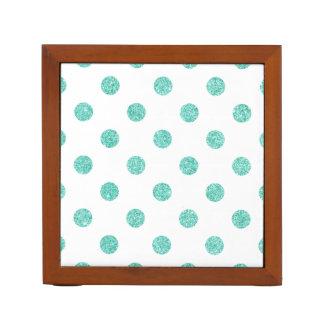 Elegant Teal Glitter Polka Dots Pattern Desk Organiser