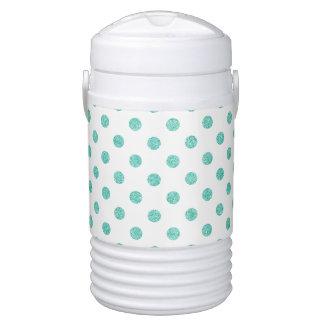 Elegant Teal Glitter Polka Dots Pattern Drinks Cooler