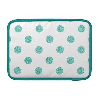 Elegant Teal Glitter Polka Dots Pattern MacBook Sleeve