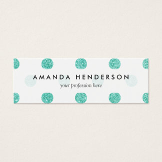 Elegant Teal Glitter Polka Dots Pattern Mini Business Card