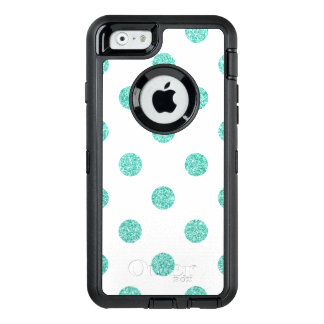 Elegant Teal Glitter Polka Dots Pattern OtterBox Defender iPhone Case