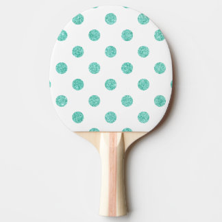 Elegant Teal Glitter Polka Dots Pattern Ping Pong Paddle