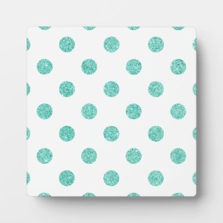 Elegant Teal Glitter Polka Dots Pattern Plaque
