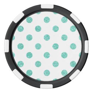 Elegant Teal Glitter Polka Dots Pattern Poker Chips