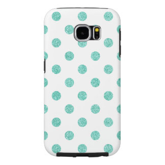 Elegant Teal Glitter Polka Dots Pattern Samsung Galaxy S6 Cases