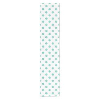 Elegant Teal Glitter Polka Dots Pattern Short Table Runner