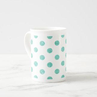 Elegant Teal Glitter Polka Dots Pattern Tea Cup