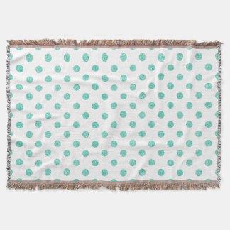 Elegant Teal Glitter Polka Dots Pattern Throw Blanket
