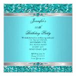Elegant Teal Glitter Silver Diamond Pearl Birthday 13 Cm X 13 Cm Square Invitation Card