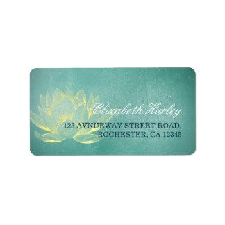 Elegant Teal Gold Lotus Yoga Mediation Instructor Address Label