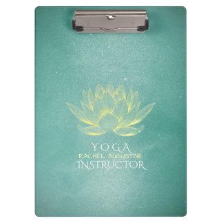 Elegant Teal Gold Lotus Yoga Mediation instructor Clipboard