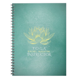 Elegant Teal Gold Lotus YOGA Meditation Instructor Notebook