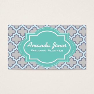 Elegant Teal Grey Quatrefoil Wedding Planner Business Card