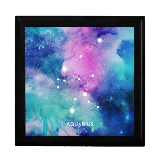 Elegant Teal Pink Blue Nebula Aquarius Large Square Gift Box
