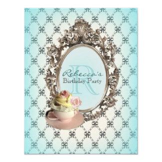 elegant teal pink cupcake vintage birthday party card