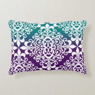 Elegant Teal Purple And White Pattern Accent Cushion