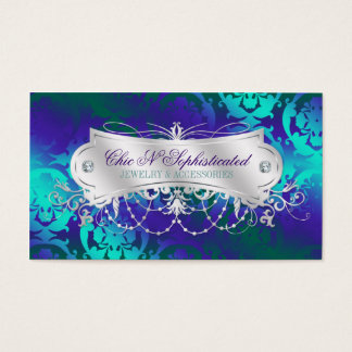 Elegant Teal Purple Damask Swirl Business Card