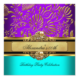 Elegant Teal Purple Gold Damask Birthday Party 13 Cm X 13 Cm Square Invitation Card