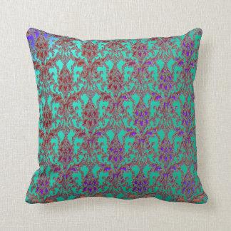Elegant Teal Purple Red Damask American MoJo Pillo Cushions